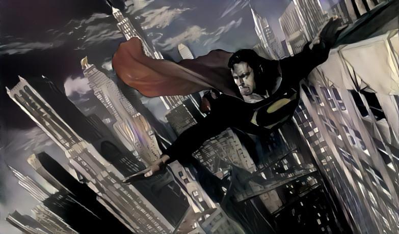 Superman By Alex Ross With Batman Style Deep Dream Generator
